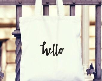 Cute, Fun Tote Bag - Hello - large
