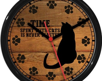Time Spent With Cats Wall Clock Personalized Wood Tones