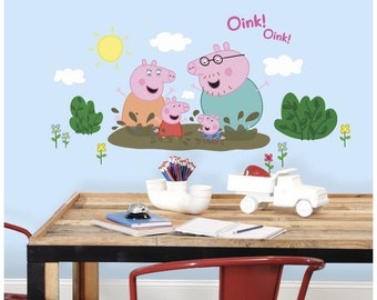 peppa pig bedroom/birthday stick and peel wall decal decoration