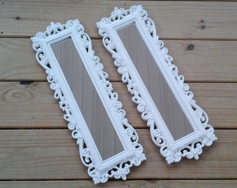 Faux Wicker Mirrors, Pair Homco 70s Narrow Feminine Victorian Style Mirrors