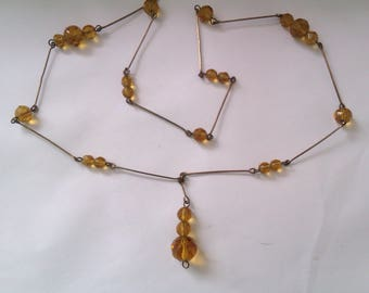 deco orange crystal bead necklace