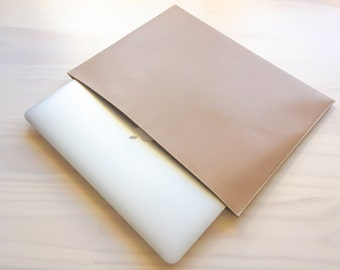 Beige Plain Laptop Case, Macbook Pro Case, Macbook Air Case, Stylish Laptop Case, Sleeve, Case, Faux Leather, Handmade