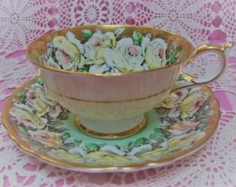 Beautiful Vintage PARAGON ROSES Cup & Saucer.