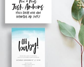 oh baby ombre baby shower invites // watercolor ombre shower invites // blue ombre invites // brush lettering // PRINTED invites