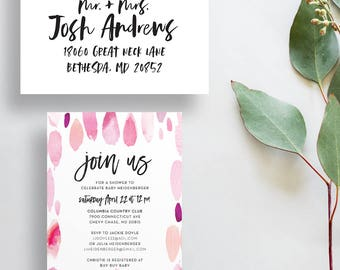 pink watercolor strokes baby shower invites // colorful bridal shower party invites // paint strokes // hand lettered // printable custom