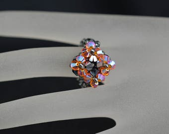 Small ring Swarovski crystal light 2x, sun ab2x
