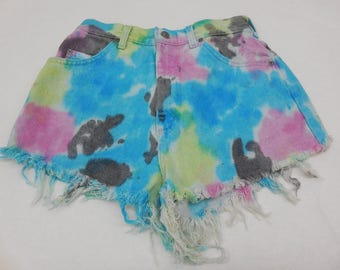 Upcycled Cut Off Tie Dye Rainbow Denim Shorts Size 26