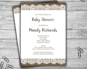 Burlap and Lace - Baby Shower - Custom - Invitation - Printable - DIY - Rustic Baby Shower Invitation - 084