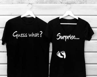 Pregnancy Announcement Shirt, Funny Shirts Guess What, Surprise  T-Shirts ,Daddy To Be Shirt , Pregnancy Reveal T shirts