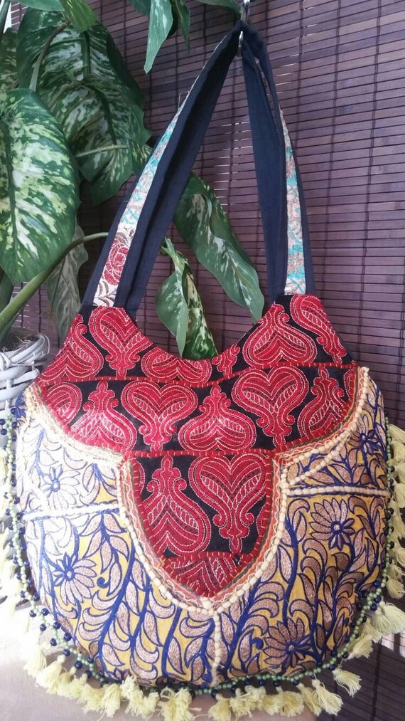 Patch Work Hand Embroidery Short Handle Bag Patchwork bag Handmade purse Ethnic Purse Hand Embroidery Ethnic bag Tote bag Tassel bag