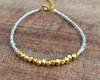 Nugget bracelet, dainty bracelet, simple bracelet, gold nugget, silver bracelet, dark gray bracelet, friendship bracelet, silver and gold,