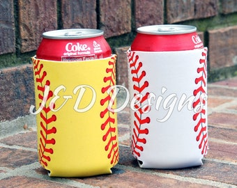 Personalized Softball Can Holder, Personalized Baseball Can Holder