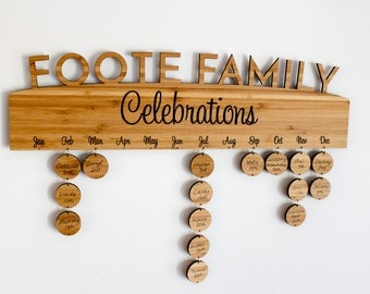 Family Birthday Board Bamboo - Record Birthdays Anniversaries Special Events Organisation Wall Decor Wedding Mother's Day Housewarming Gift