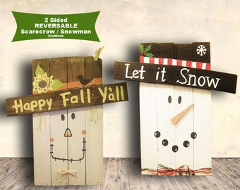 Scarecrow Sign - Fall Signs - Happy Fall Y'all and Let it Snow - 2 Sided Wood Sign - Hand Painted - Fall Home Decor