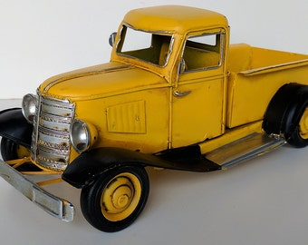 1930 Vintage antique looking metal tin toy pickup truck die cast car collection petroliana gas and oil man cave garage Ford Chevy Dodge