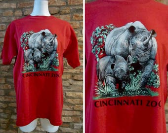 Vintage T-Shirt • Vintage 80s Shirt • Vintage Cincinnati Zoo • XL Graphic Tee • Rhino Rhinoceros Animal Shirt • Harambe Shirt • Ohio T-Shirt