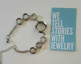 Locket Bracelet stainless steel -  Floating Charms - Memory Locket - Magnetic Locket