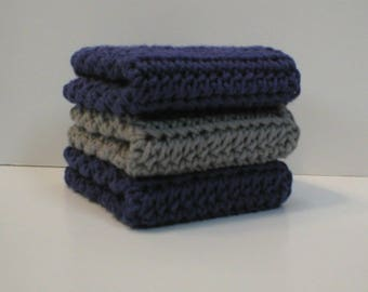 "Handmade Crochet Cotton Dishcloths or Washcloths 3-Pk, 2 Deep Blue, 1 Silver Grey, About 7-1/2"" (Dishcloths6757)"