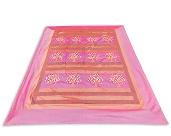 Indian Silk Embroidery Tree Design Pink Color Double Bed Cover 260x240 CM