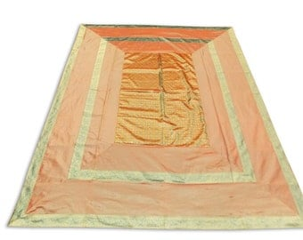 Indian Silk Brocade Design Orange Color Double Bed Cover 260x240 CM