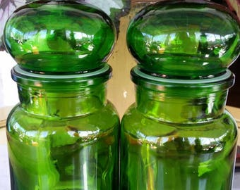 Vintage, Mid Century, Green Glass, Vintage Cannister, Apothecary Jars, Belgium