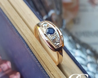 Art Deco Inspired 9ct Rose Gold, Blue Sapphire & Diamond Trilogy Ring