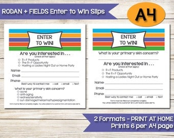 A4 | RODAN AND FIELDS | Enter to Win | Door Prize | Drawing Slip | Raffle Ticket | Skin Care Survey | Contest Form | Direct Sales Vendor