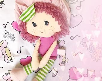 strawberry shortcake raspberry tart adorable rag doll pink yarn hair