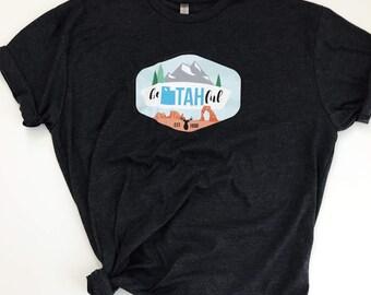 """Unisex Fit, BE """"UTAH"""" FUL Dark Gray T-shirt"""
