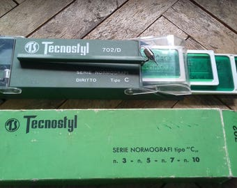 Vintage Tecnostyl 702/D Drawing Set-Pen Holder,4 Nibs and 4 Rulers in Original Box-Italy 70's