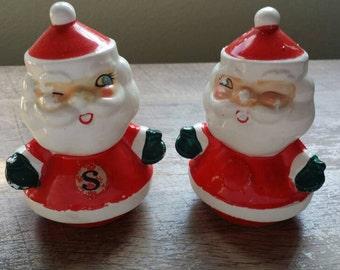 Vintage Holt Howard Winking Santa Salt and Pepper Shakers