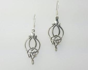 Celtic Knot Earrings~Silver Celtic Knot Earrings~Long Knotted Earrings~Infinity Knot Earrings~Celtic Woven Knot Earrings~Wedding Jewelry