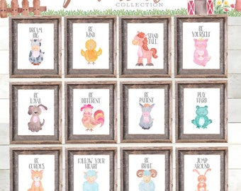 Modern Farmhouse Nursery Printables Farm Animal Prints Kids Room Wall Art Printable