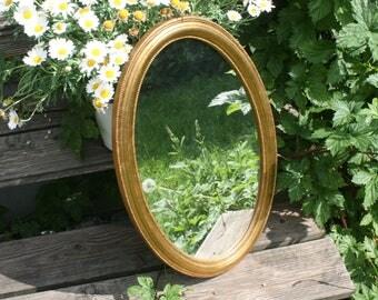 Vintage mirror oval wood frame shabby