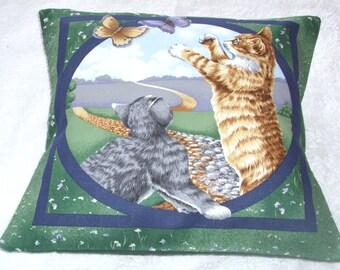 Lovely pretty kittens chasing butterflies cushion
