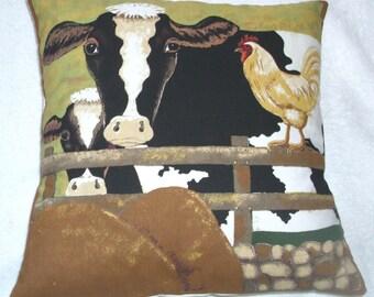 On the Farm Friesian Cow and calf cushion