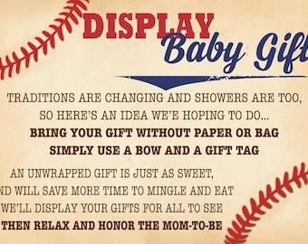 BaseballBaby Shower Unwrapped Gift Tag