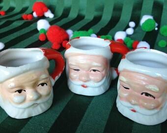 Vintage Miniature Santa Mugs 1950 Ceramic Hand Painted