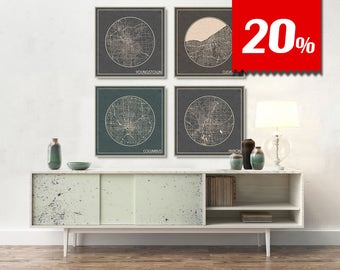 4 SQUARE Maps of Ohio with 20% Largest Cities Discount Akron Cleveland Columbus Youngstown City Maps printed on canvas Maps