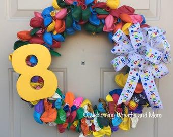 Birthday Wreath, Balloon Wreath, Birthday Party Wreath, Birthday Decor, Celebration Wreath, Birthday Balloon Wreath, Birthday Decoration