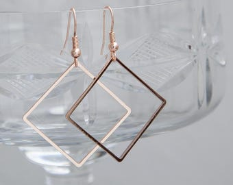Rose Gold Earrings, Geometric Earrings, Rose Gold Geo Earrings, Everyday Earrings, Minimalist Earrings, Rose Gold Minimalist Jewelry