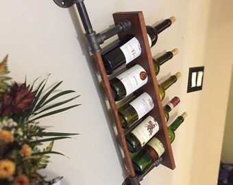 Shelf, wall support industrial wine wood