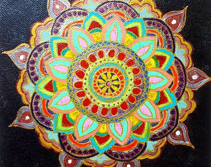 Limited Edition - Blessing Mandala art, 8x8 inch,Colorful, Reiki energized, Hand painted, Wall decor,gift.