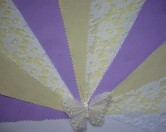 Pretty Lemon & Deep Lilac with White Lace  - Wedding / Celebration Bunting - Sold by the Metre