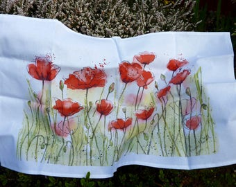 POPPIES - A 100% washable tea towel