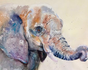 """Elephant Painting """"Curious"""" - Limited Edition Mounted Giclee (65 x 50cm) Watercolour print from an original watercolour by Karen Thomas"""