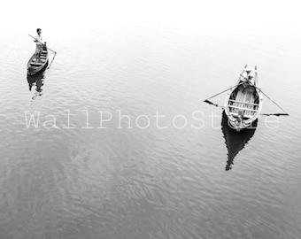 Boats at Ayeyarwady River Mandalay. Black White / Color, Boat Photography, Myanmar Photography, Fine Art Photography, Wall Art Print