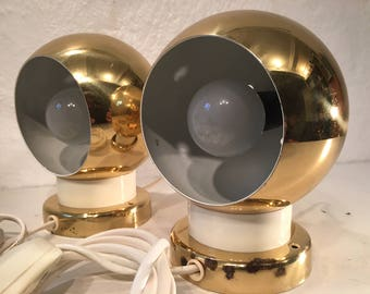 Pair of brass colored ball wall sconces, 1970s Danish Design by B.A.