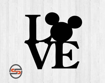 Love Disney SVG, Mickey Mouse Ears, Silhouette Digital Clip Art, Cricut, DXF, PNG, Mickey Mouse svg cut files, Instant Download