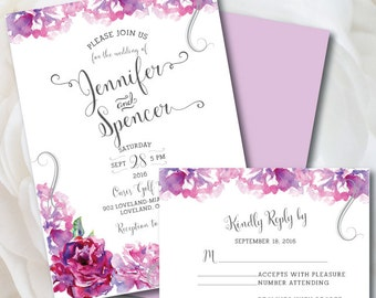 Purple Wedding Invitation, Floral Wedding Invitation, Purple Wedding, Printable Wedding Invitation Suite, Peonies, Purple Wedding Invite